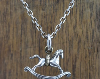 Rocking horse Necklace, delicate hand carving,925,Solid Sterling Silver and Brass,