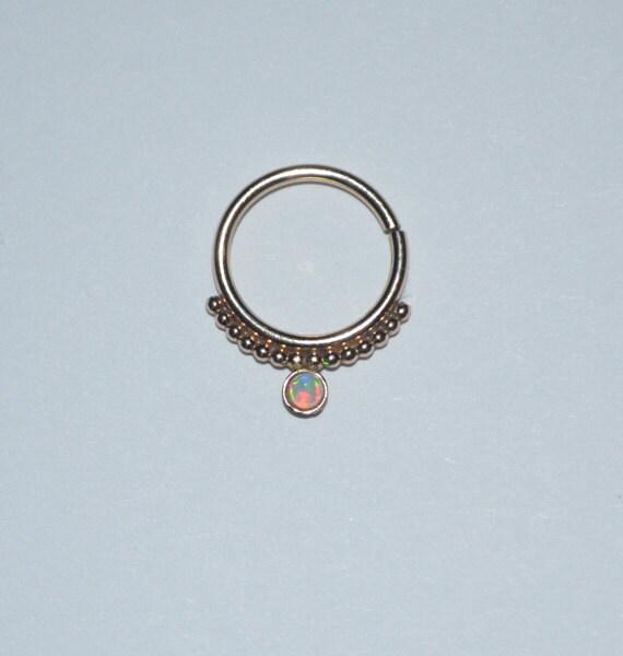 2mm white opal septum ring 18g gold septum piercing nose