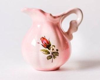 Vintage Shabby Chic Creamer - Pink Rose Bud Floral Creamer or Milk Pitcher
