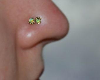 2mm Kiwi Green Opal NOSE STUD / RING // Ear / Cartilage / Helix / Tragus gold piercing. 20 gauge 20g