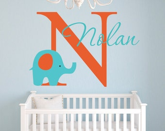 Name Wall Decal - Elephant Wall Decal - Nursery Baby Room Decor - Elephant Wall Decor - Nursery Wall Decals Vinyl