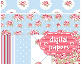 Roses in Blue printable digital paper backgrounds and patterns for personal and commercial use - High Resolution 300 DPI
