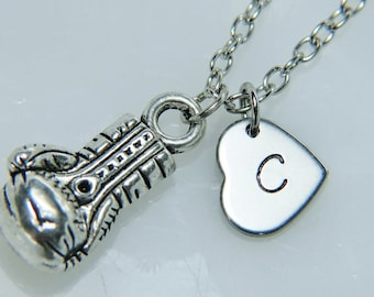 Silver Boxing Gloves Charm Necklace Boxing Necklace Boxing Glove Charm Silver Necklace Personalized Necklace Initial Charm Initial Necklace
