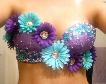 Purple & Blue Daisy Rave Bra