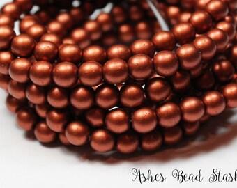 Copper Matte Metal Opaque Glass Druk Round Beads, 30 Pieces