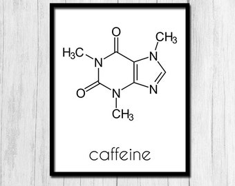 "Organic Chemistry ""Caffeine"" Print Chemistry Gift Digital Download Chemistry Art Molecule Printable Art Digital Wall Print Printable Artwork"