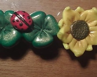 Ponytail holders in fimo with shamrocks and sunflower