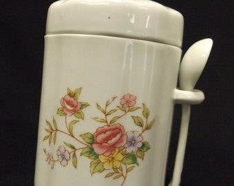 Vintage F.T.D.A. Porcelain Rose floral canister with spoon