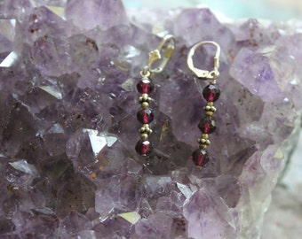 Garnet dangle earrings, on sterling silver hooks