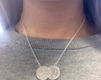 Handmade Double Sixpence Coin Necklace
