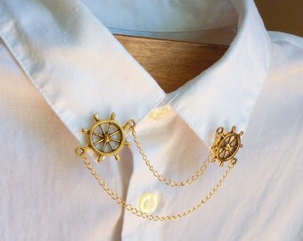 Brooch necklace or collarpin Rudder nautical style gold chains