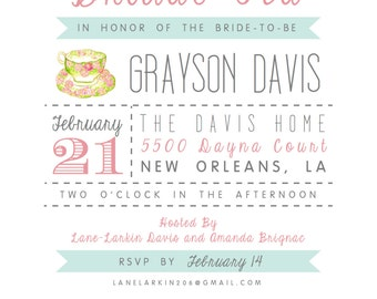 Digital (Printable) Bridal Tea Invitation