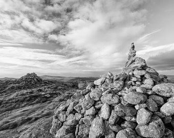 photography, black and white, landscape, wall art, moorland, Dartmoor. Cairns