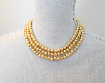 Pearl necklace: Long gold glass beads, unique for wedding, Bridesmaid Gifts, Mother of the Bride, Teacher, Birthday, Mum jewelry, For her