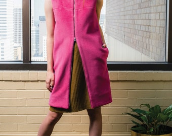 Long Pink Wool Vest