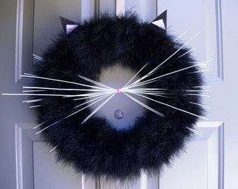 Cat Wreath, Halloween Cat Wreath, black cat wreath, Fall Wreath, Halloween Wreath, Fall decor, Black Cat Wreath, black wreath, halloween