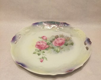 Antique Johann Seltmann China Serving Plate with Handles - Pale Green with Pink Roses and Green Leaves - Vohenstrauss Germany