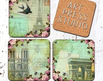 """Vintage Paris Coasters, """"Shabby Chic Paris"""" Coasters, Cork Back Coasters, Paris Coasters"""
