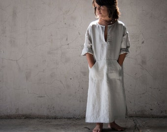 CLASSICO. Unique unisex outfit for kids! High end pure linen caftan. Stone grey color.