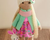 Rag doll handmade birthday gift pink turquoise decor decoration Collectible is not an ordinary doll cute delicate blonde wearing  interior