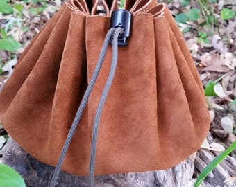 10 Inch Suede Leather Cinch Pouch