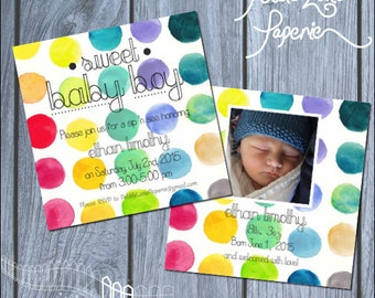 Sip n see invitation- watercolor dots, multicolor, with photo customize, colorful invite, rainbow, personalized, spots