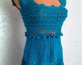 Handmade Knitted Blue Tunic