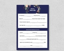 Printable Bridal Mad Libs | Wedding Advice | Marriage advice bridal shower activity game | cute navy floral fill in blanks INSTANT DOWNLOAD