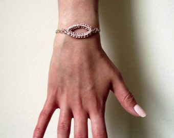 Knitted Macrame Pale Pink Bracelet