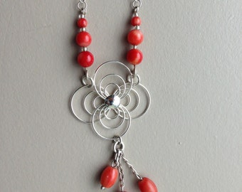 Sterling Silver Red Coral Necklace 17""
