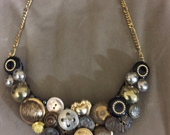 Statement necklace w gold vintage buttons