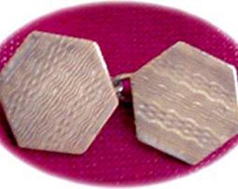 Pair Octagonal Cuff Links on a Chain