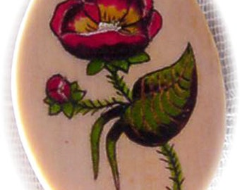 Oval Ivory Scrimshaw Brooch with Poppy