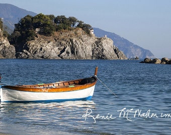 Italy photo, Nautical decor, boat photography, beach home decor, office decor, large wall art, blue+brown, Lone  Boat, Mediterranean photo