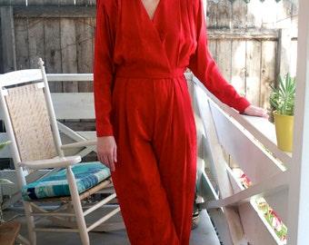 Vintage 1980s Red Silk Jumpsuit