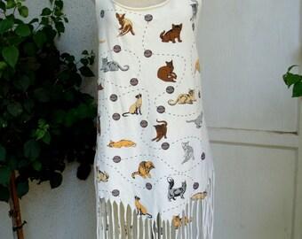 Vintage 1980s Homemade Cat Tee-shirt Dress