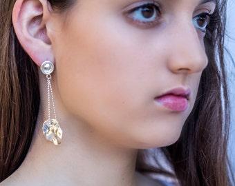 Long Sterling Silver earrings - Chain Silver earrings - Wedding Jewelry