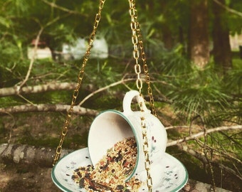 Upcycled Hanging Teacup Bird Feeder