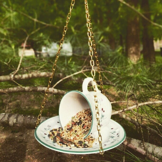 Upcycled hanging teacup bird feeder by upcyclingetc on etsy for Upcycled bird feeder