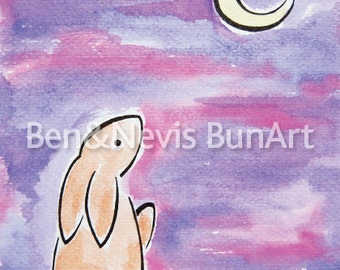 Purple watercolour art print - bunny rabbit illustration -A5 (8.3 x 5.8 inch)- baby nursery cute fun- gesso art paper - moon gazing painting