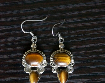 Unique TIGER'S EYE Silver Earrings