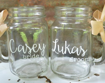 Mason Jar Wedding Mugs, Personalized Mugs, Bride and Groom,  Rustic Wedding, Wedding Toast