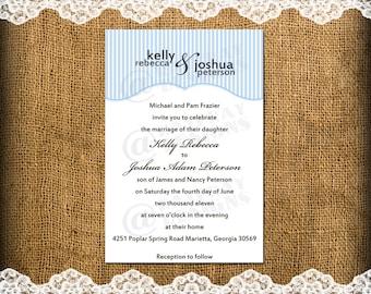 Printable Custom Casual and Cute Wedding Invitation Full Names