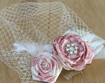 Birdcage Veil + Dusky Pink and Ivory Flower Fascinator, Blusher Veil, Flower Headpiece