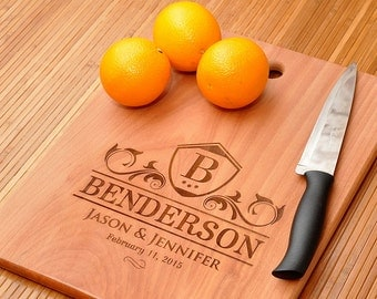 Wedding Day Personalized Cutting Board, Names Engraved, Great wedding gift, Anniversary, Housewarming gift, Kitchen Decor Block Gift