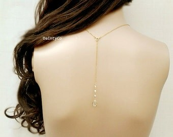Back drop necklace back bridal necklace rose gold backdrop backless dress low open back dress bride wedding jewelry Silver bridesmaid