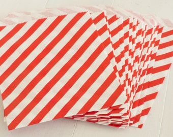 10 Red Stripe Treat Bags- Use for Party Favors, Cookie Bags, Popcorn Bags, Wedding Favors, Candy Bags, Snack Bag, and more!