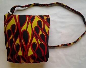 Sun Flames Shoulder Bag - Orange Liner - Strong Braided Strap