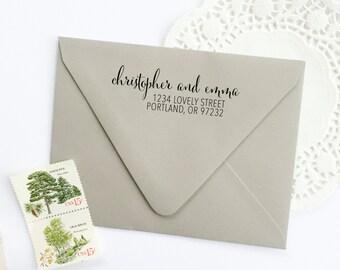 Address Stamp - custom address stamp - return address stamp - calligraphy address stamp - custom stamp - rubber stamp - Z1044