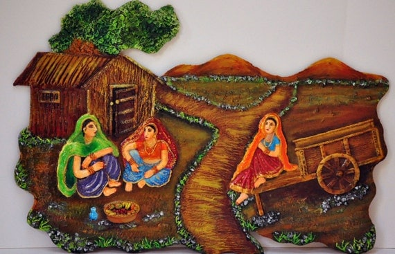 Items similar to indian village scene mural on wood wall for 3d mural art in india